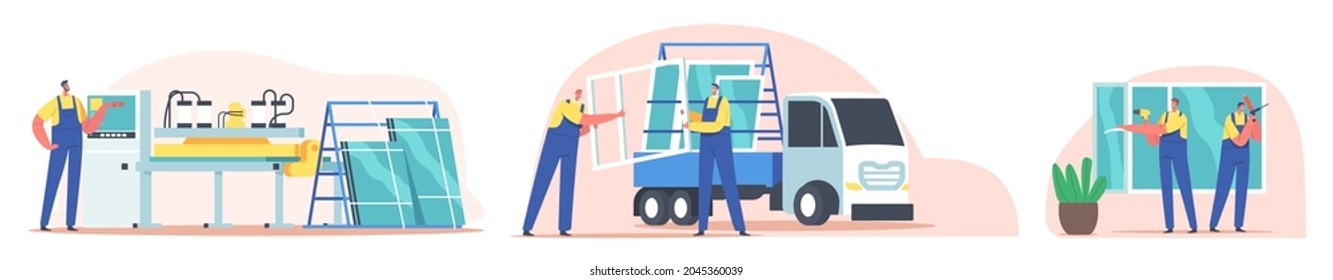 Plastic Window Producing, Delivery and Installation Concept. Installer Workers Characters Service, Pvc Glass Installing, Home Remodeling, Repair and Renovation Work. Cartoon People Vector Illustration
