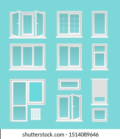 Plastic windows flat vector illustrations set. House interior, exterior decor elements, Modern architecture, glazing service symbols. Different white casements with jalousie, doors and heating battery