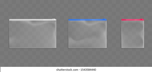 Plastic zip bags set, empty pouches of white, red and blue zipper color isolated on transparent background. Waterproof dispasable blank packages mock up. Realistic 3d vector illustration, clip art