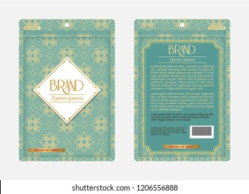 Plastic zipper wrap bag packaging design branding product mock up cosmetics health care medicines template paper food beverage ready to use foil Thai styles gold flower elegant pouch realistic sachet