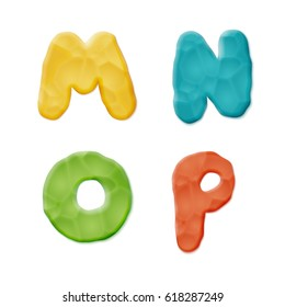 Plasticine M, N, O, P Letters on white background. Vector Quality Modeling Clay Texture