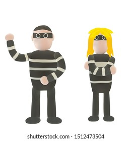 Plasticine Thieve or crime or bandit in running action. Art like plasticine