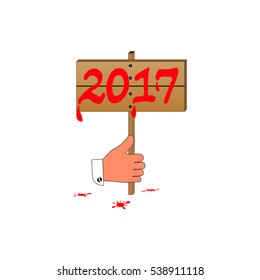 Plate 2017. New Year's Eve 2017 in hand. isolation on a white background. vector illustration