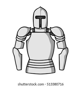 Plate armor icon in monochrome style isolated on white background. Museum symbol stock vector illustration.