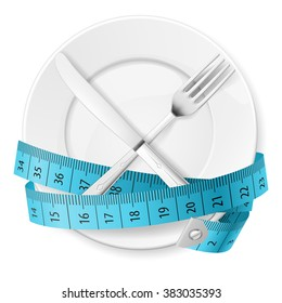 Plate with Blue Measuring Tape and Crossed Fork and Knife
