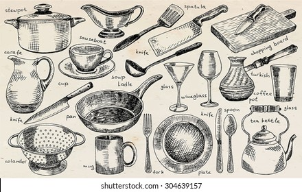 plate, bowl, stewpot, pan, colander, mug, fork, spoon, soup ladle, spatula, carafe, martini glass, glass, knife, turkish coffee pot, chopping board,  tea kettle, tableware on the vintage background