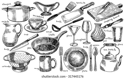 plate, bowl, stewpot, pan, colander, mug, fork, spoon, soup ladle, spatula, carafe, wineglass, martini glass, glass, knife, turkish coffee pot, chopping board, sauceboat, tea kettle