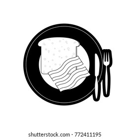 plate with bread  an bacon vector  illustration