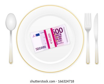 Plate, cutlery and euro banknotes pack on a white background.