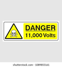 """Plate: """"Danger. 11,000 Volts"""" (Panoramic sign). Sign: """"Danger. 11,000 Volts"""" (Panoramic sign) on a gray background"""