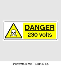 """Plate: """"Danger. 230 Volts"""" (Panoramic sign). Sign: """"Danger. 230 Volts"""" (Panoramic sign) on a gray background"""