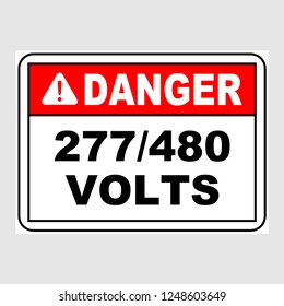 "Plate: ""Danger. 277/480 Volts. Sign"". Sign: ""Danger. 277/480 Volts. Sign"" on a gray background"