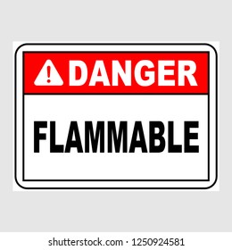 """Plate: """"Danger. Flammable"""". Sign: """"Danger. Flammable"""" on a gray background"""