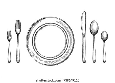 Plate dining room with fork spoons and knife vector sketch. cutlery set. handmade isolated vintage drawing