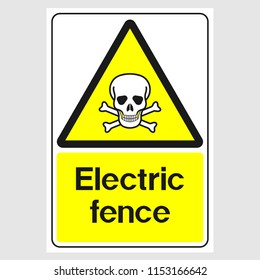"""Plate: """"Electric Fence Sign"""". Sign: """"Electric Fence Sign"""" on a gray background"""