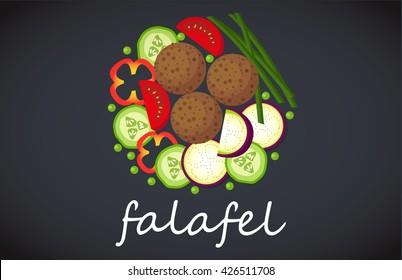 Plate of falafel. Top view.