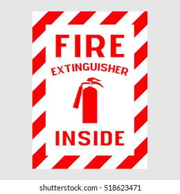 """Plate: """"Fire extinguisher inside"""". On a gray background isolated"""