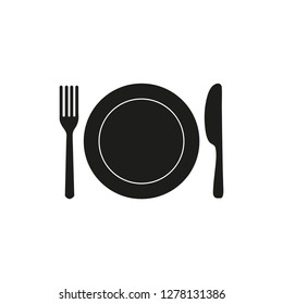 Plate, fork and knife black icon