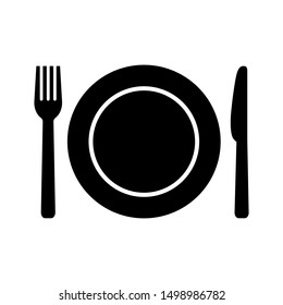 Plate, fork and knife icon in flat style. Food symbol isolated on white background. Bar, cafe, hotel concept. Simple eating icon in black. Vector illustration for graphic design, Web, UI, mobile upp