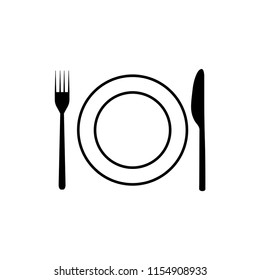 Plate, fork, knife icon. Graphic vector icon. Graphic vector icon.