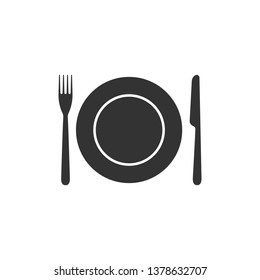 Plate, fork and knife icon isolated. Cutlery symbol. Restaurant sign. Flat design. Vector Illustration