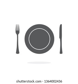 Plate, fork and knife icon on white background