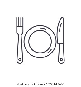 Plate, fork and knife line icon concept. Plate, fork and knife vector linear illustration, symbol, sign