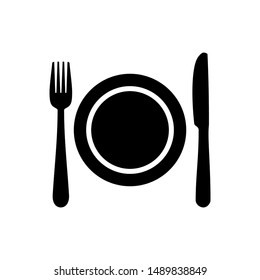 Plate, fork and knife line icon concept. Flat vector illustration in black on white background. EPS 10