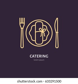 Plate with fork and knife line icon. Vector logo for catering service. Linear illustration for cafe or restaurant menu.