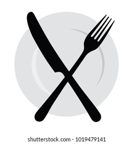 Plate with a fork and knife. Logo with cutlery. The symbol of the diner. Canteen.