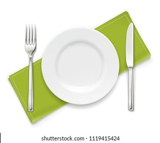 Plate, fork and knife. Set of utensils. Tableware for food. Utensil collection. Isolated white background. EPS10 vector illustration.
