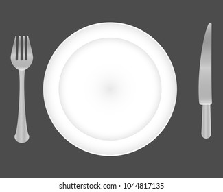 Plate, fork and knife vector