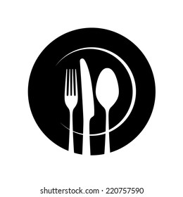 Plate, fork and knife - Vector icon isolated on white