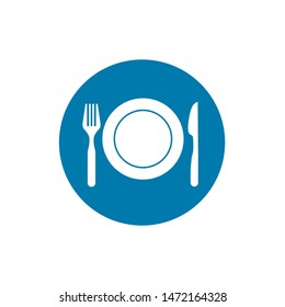 Plate, fork and knife. Vector illustration. Sign for mobile concept and web design.