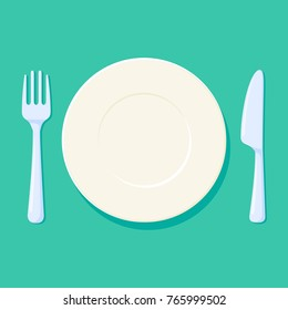 Plate, Fork and knife Vector illustration. Place setting with cutlery. Empty and clean kitchen acessories on a green background. Isolated picture
