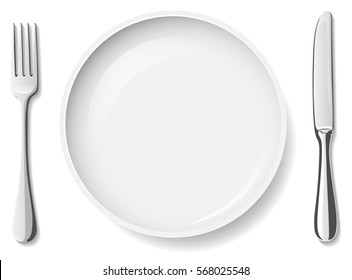 plate with fork and knife white