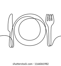 Plate, fork and spoon continuous line sketch