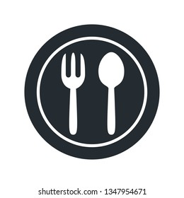 Plate, fork and spoon icons - stock vector