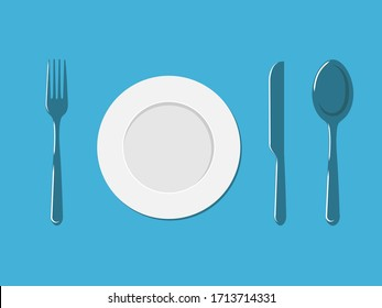Plate, fork, spoon and a knife. Vector illustration. Oblects on a blue background.