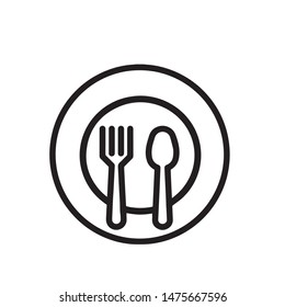 Plate Fork And Spoon Vector Sign Thin Line Icon. Plate With Flatware Restaurant Mark