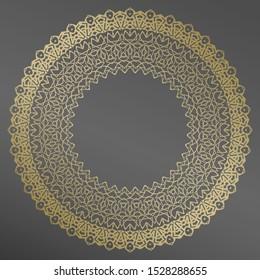 Plate, frame . Vector gold floral  ornament for decorative plate. Home  decor, interior design.