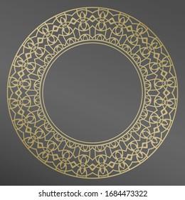 Plate, frame. Vector gold floral  ornament for decorative plate. Home  decor, interior design.