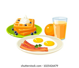 Plate with fried eggs and slices of bacon, glass of fresh orange juice and pile of waffles topped with whipped cream and berries. Vector illustration cartoon flat icon isolated on white.