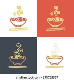 Plate full of tasty hot noodles with chopsticks. Vector icon set. Logo Template.