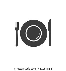 Plate icon. Flat vector illustration in black on white background. EPS 10