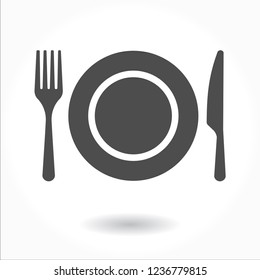 Plate icon vector. Fork and Knife