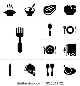Plate icons. set of 13 editable filled plate icons such as soup, spoon, knife, fork, cargo height, beef, chicken, food, dish serving