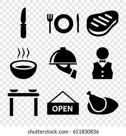 Plate icons set. set of 9 plate filled icons such as knife, soup, beef, chicken, waiter, plate fork and spoon