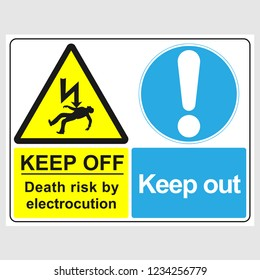 """Plate: """"Keep Off. Death Risk By Electrocution. Keep Out"""". Sign: """"Keep Off. Death Risk By Electrocution. Keep Out"""" on a gray background"""