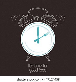 Plate, knife and fork with hand drawn alarm clock over blackboard background. Time for food, lunch, menu design concept